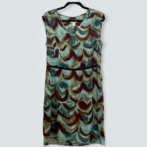 Loft Dress with Pockets Abstract Print V Neck